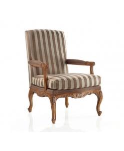 Fauteuil classique, fauteuil tissu à rayures