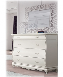 Commode blanche, commode 4 tiroirs, commode de rangement