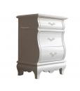 Chevet 3 tiroirs, table de chevet blanche