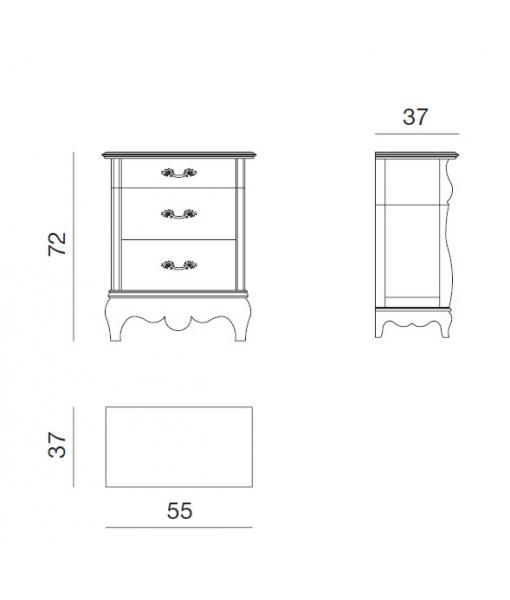 Chevet 3 tiroirs, chevet pour chambre à coucher