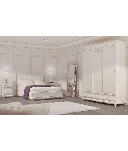 lit deux places blanc white dream lamaisonplus. Black Bedroom Furniture Sets. Home Design Ideas