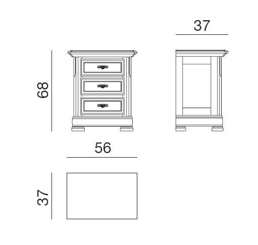 Table de nuit 3 tiroirs lamaisonplus for Dimension table de nuit