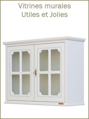 Vitrine suspendue en bois blanc, vitrine murale style classique en bois de qualité, vitrine classique à suspendre
