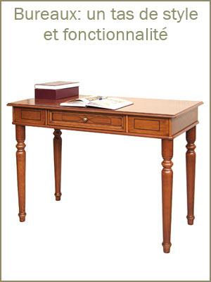 Bureau essentiel 107 cm largeur style classique avec tiroir, bureau classique en bois