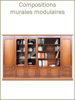 Meuble mural modulaire en bois montage facile, composition murale style classique avec portes et tiroirs