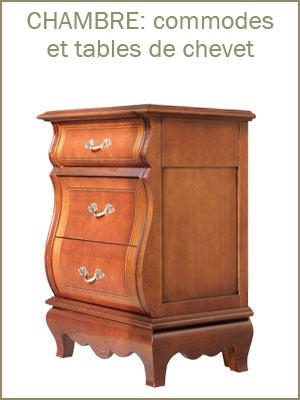 Table de chevet style classique en bois avec tiroirs, table de nuit classique en bois de qualité
