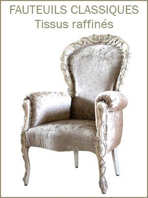 Fauteuil classique élégant bois et tissu, fauteuil confort bois et tissu style classique, fauteuil bois et tissu produits artisanal de haute qualité
