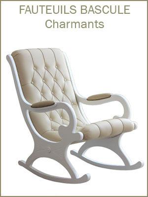 Fauteuil à bascule bois et cuir capitonné, fauteuil de salon à bascule en bois produit artisanal italien