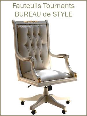 Fauteuil de direction tournant et pivotant en bois et cuir capitonné, grand fauteuil de bureau style classique haute qualité