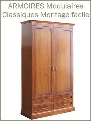 Armoire modulaire pour chambre ou placard entièrement en bois, armoire style classique artisanal avec portes et tiroirs montage facile
