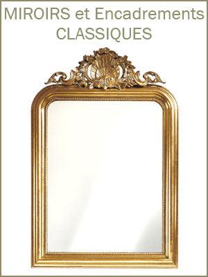 Miroir style classique encadrement en bois, miroir classique pour le hall d'entrée