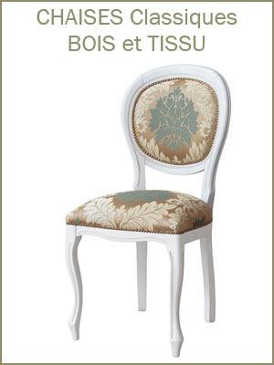 Chaise classique bois et tissu pour la salle à manger, chaise de style classique vaste gamme de tissu
