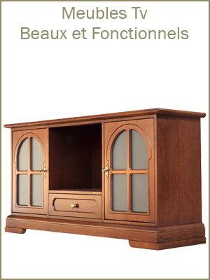 Meuble tv de style classique en bois, meuble support tv avec portes et tiroirs, banc tv classique artisanal