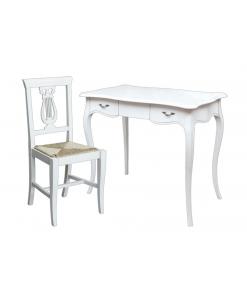 Bureau laqué, chaise assise en paille, chaise blanche, bureau et chaise assortie