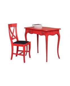 Bureau et chaise rouge, rouge Ferrari, bureau d'écriture