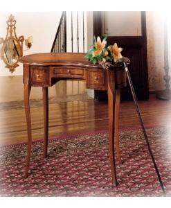 Petit bureau marqueté aux formes classiques, avec les pieds en bois de hêtre doucement modelés. bureau, petit bureau, bureau en bois, ameublement de style, ameublement classique