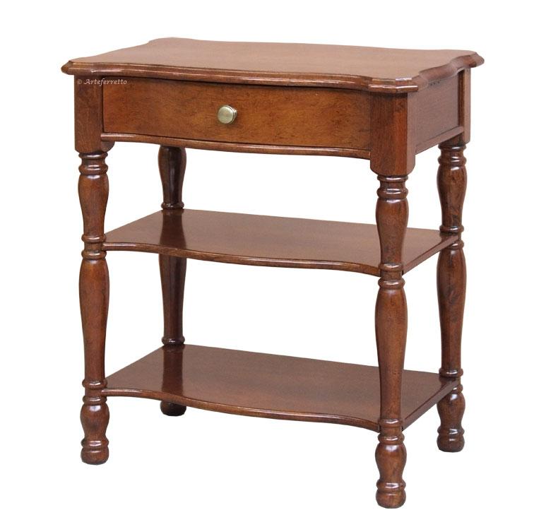 Table de chevet avec pieds tourn s lamaisonplus - Table de chevet merisier ...