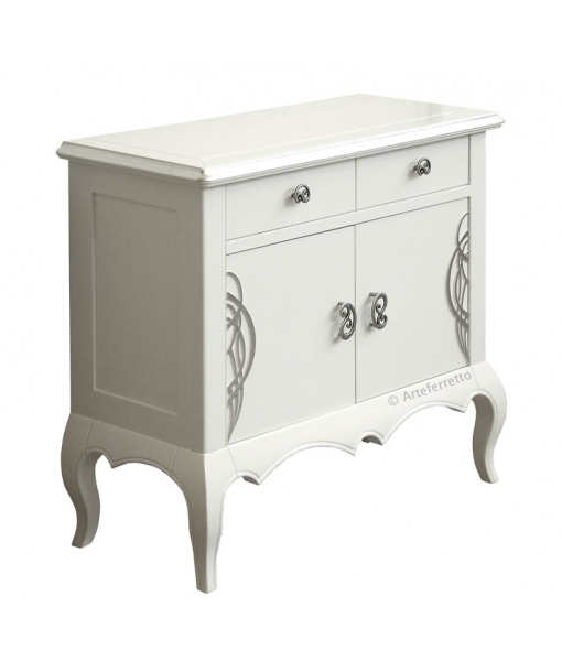 meuble buffet blanc et argent lamaisonplus. Black Bedroom Furniture Sets. Home Design Ideas