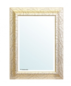 Miroir mural en feuille d'or glace biseautée