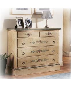commode en bois, commode, commode 5 tiroirs, commode classique, commode decorée