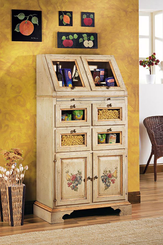 meuble garde manger en bois avec tirette mobilier de rangement made in italy ebay. Black Bedroom Furniture Sets. Home Design Ideas