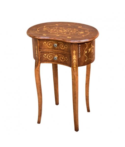 petite table haricot marquetée, Réf. ER-153