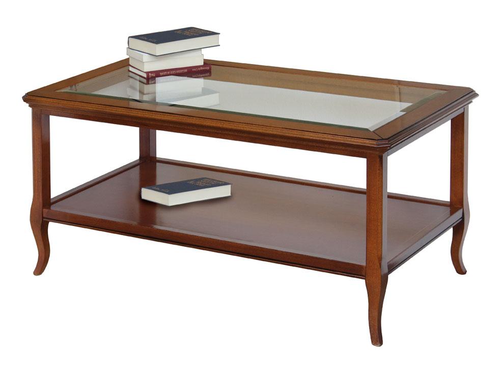 Table basse classique plateau en cristal table de salon en bois merisier - Table basse classique ...