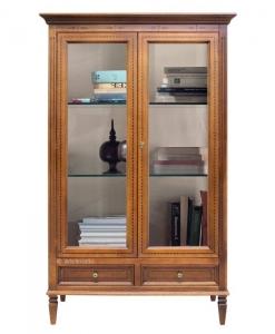 vitrine cristal, vitrine, vitrine classique, vitrine avec 2 tiroirs, vitrine de style pour le salon, ameublement pour le salon,