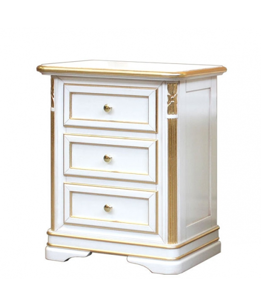 table de chevet, table de chevet laqué, table de chevet avec feuille d'or, table de chevet avec feuille d'argent, table de chevet classique, Réf. F22-T