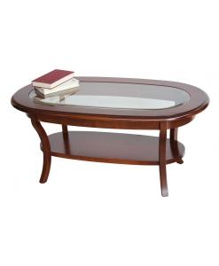 Table basse ovale dessus vitré
