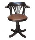 Fauteuil tournant assise rembourrée, fauteuil wengé