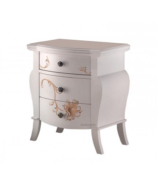 table de chevet decorée, table de chevet, table de chevet en bois, table de chevet classique, zone nuit, Réf. FS-622