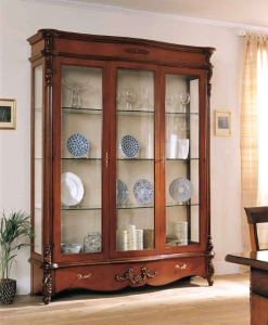 vitrine argentier modelée, vitrine, vitrine en bois, vitrine pour le salon, vitrine classique, ameublement de style classique, ameublement de style