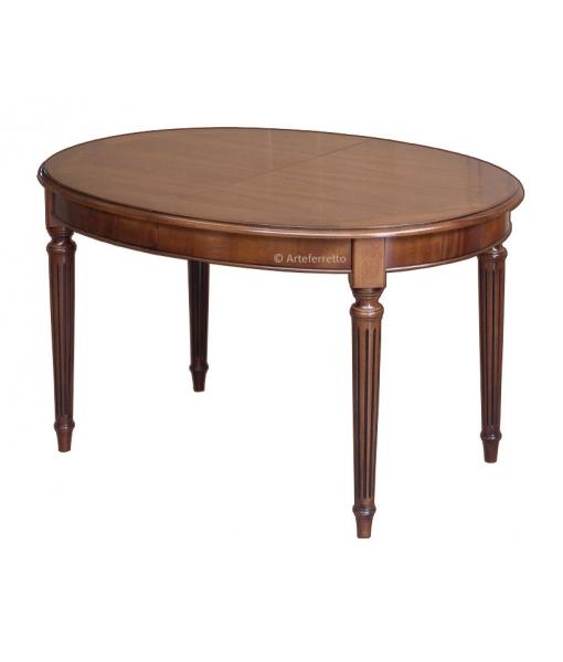 Table ovale Style Louis XVI avec allonges 130-210 cm