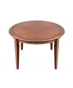 table ronde diamètre 120 cm, table marquetée, table en bois, table classique