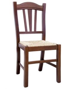 chaise classique, chaise en bois massif, chaise avec assise en paille, chaise noyer