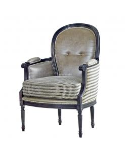 fauteuil classique, fauteuil à coussin, fauteuil double tissu