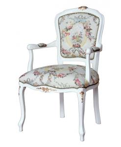 Fauteuil style Louis XV laqué, fauteuil classique, fauteuil shabby chic