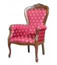 fauteuil classique, fauteuil merisier, fauteuil tissu rouge