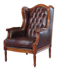 Fauteuil Bergère, fauteuil cuir véritable, fauteuil classique
