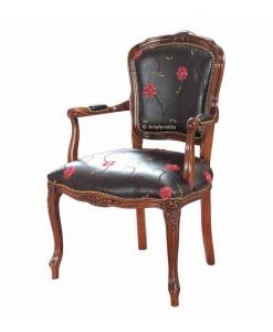 fauteuil louis xv ecoflowers, fauteuil classique, fauteuil cuir écologique noir
