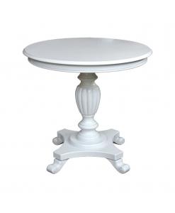 Table ronde de salon, table blanche, table d'appoint, bout de canapé