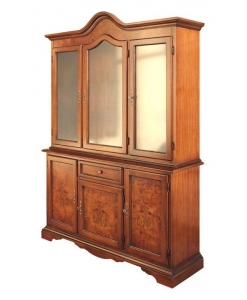 vaisselier marqueté, vetrine, vetrine en bois, ameublement classique, ameublement pour le salon, ameublement de style