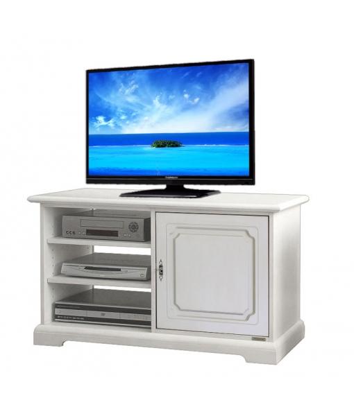 Meuble tv en bois laqu 1 porte lamaisonplus for Meuble avec cachette