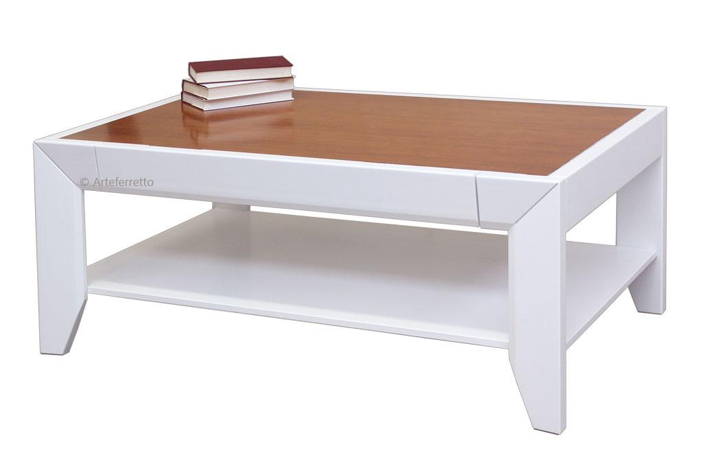 Table basse de salon bicolore table basse en bois massif ameublement de sal - Table basse bicolore ...