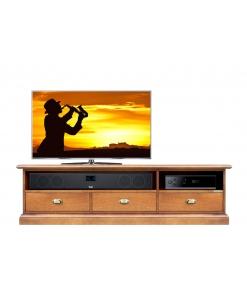 Meuble Tv Barre de son 3 tiroirs, meuble tv 150 cm, meuble tv barre de son, meuble tv niche barre de son, meuble tv merisier, meuble tv bas