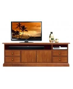 Meuble tv barre de son, meuble tv niche large, banc tv avec tiroirs, meuble télévision en bois