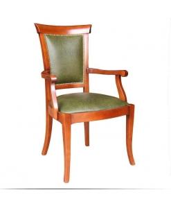 chaise avec accoudoirs, chaise bout de table, chaise merisier