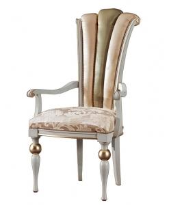 chaise bout de table dossier haut, chaise dossier rembourré, chaise blanc et or, chaise super classique
