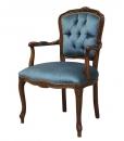fauteuil louis xv capitonné, velours bleu, fauteuil